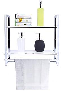 Badezimmer-Regal mit 2 Ablagen Duschablage Duschregal Wandregal ...