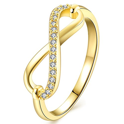 FENDINA Womens Infinity Wedding Engagement Band Ring CZ Anniversary Promise Rings - 18K Yellow Gold Plated - Retro Series (Artcarved Yellow Ring)