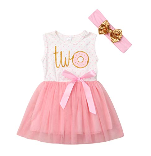 2Pcs Baby Girls Tutu Dress 1st Birthday Outfit Donut Letter Print Top Tulle Tutu Skirt with Headband Outfit Set (18-24M, Two Sleeveless)]()