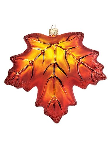 Pinnacle Peak Trading Company Maple Leaf Polish Mouth Blown Glass Christmas Ornament Fall Tree Decoration