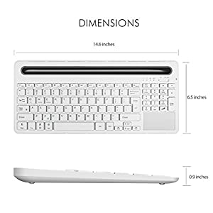 Alitoo Wireless Bluetooth Rechargeable Keyboard with Touchpad and Numeric Keyboard for ipad Air Mini,Mac,Laptop, Apple and Tablets PC Multi-Device(White) (white)