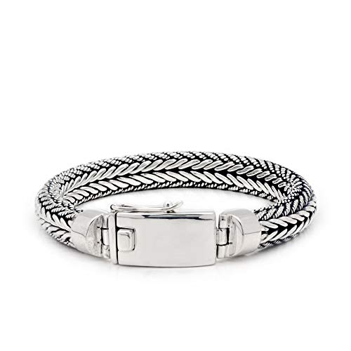 925 Sterling Silver Chain Bracelet with Tulang Naga Twisted Water Rope Motif Chain for Women and Jewelry Gift, Box Closure Lock Include 925 Stamp, Length Size 7 Inches ()
