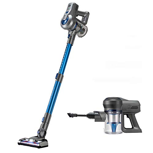 Jajibot Stick Cleaner, 18KPa Suction 180W Brushless BLDC Motor 2-in1 Handheld Vacuum with Telescopic Tube Rechargeable Lithium Battery LED Power Brush, Blue/Gray