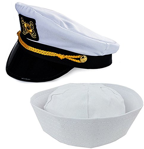 Adult Captain's Yacht Hat and White Cotton Sailor Hat-Funny Party Hats (Sea Hat Adult Captain)