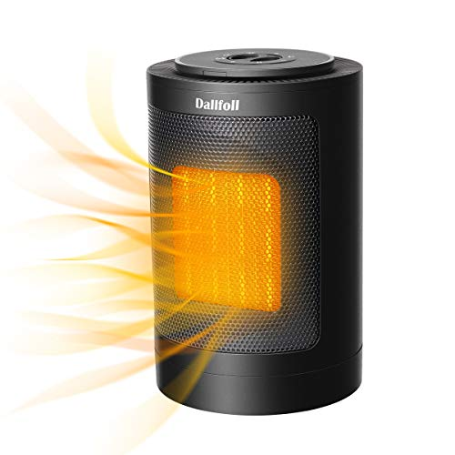Dallfoll Ceramic Oscillating Space Heater, Portable Indoor Electric Heaters with Adjustable Thermostat, Overheat and Tip-Over Protection for Desk Office Bedroom Home,1500W 750W
