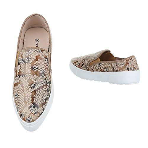 Ital-Design - Zapatillas de casa Mujer beige marrón
