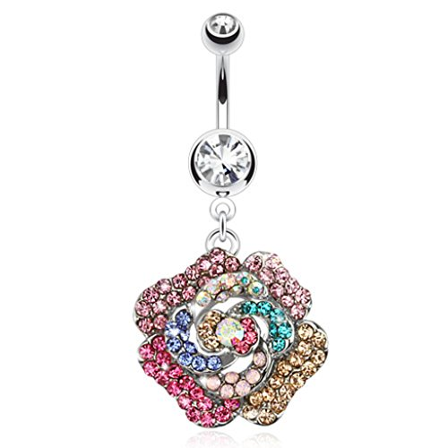 Dynamique Rose Multi-Colored Gem Paved Dangle 316L Surgical Steel Belly Button Ring