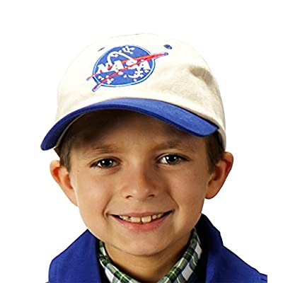 Aeromax Jr. NASA Astronaut Flight Suit Cap, Adjustable Youth Size, White/Blue: Toys & Games