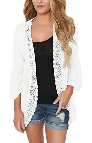 PRETTODAY Women's Summer Kimono Cardigans Ruffle Bell Sleeve Sweaters Lace Cover Up Loose Blouse Tops