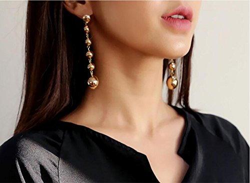 JD Million shop 2017 New ! Fashion Fine Jewelry Metal Copper Mirror Polished Beaded Tassel Gold Color Stud Earrings For Women Ladies Gifts E-843