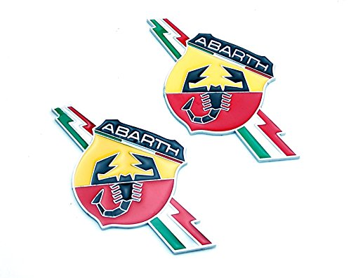 Decal Car Badge (2pcs B023 Car Chromed Emblem Badge Decal Fender Sticker ABARTH Italy For FIAT 124 125 125 500 695 OT2000 Coupe)