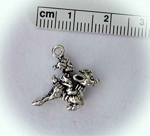 Sterling Silver 3D 20x15mm Elf on Rudolph Flying Reindeer Charm Vintage Crafting Pendant Jewelry Making Supplies - DIY for Necklace Bracelet Accessories by CharmingSS -