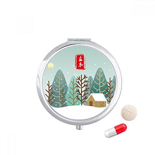 Circular Winter Begins Twenty Four Solar Term Travel Pocket Pill case Medicine Drug Storage Box Dispenser Mirror Gift by DIYthinker