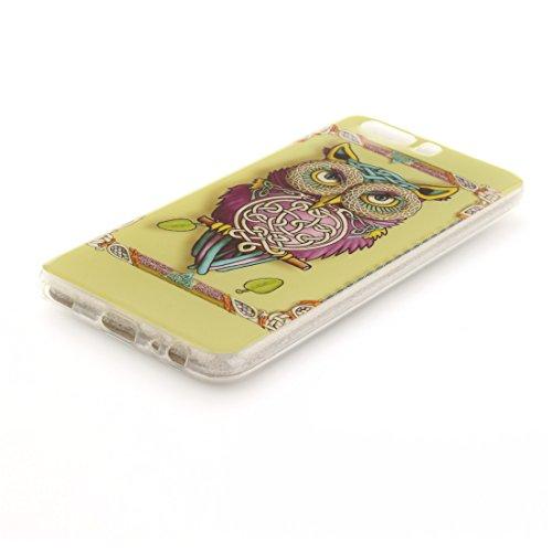 Scratch Protection De Cas En Motif Peint owl Hozor TPU Cas P10 Résistant Souple Antichoc Fit Arrière Slim Transparent Silicone Couverture De Huawei Bord Téléphone HHRan06