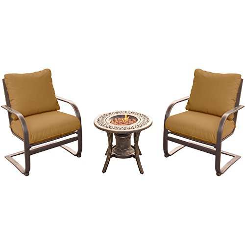 Hanover Summer Nights 3 Piece Fire Pit Chat Set with Two C-Spring Chairs and a 10,000 BTU Fire Pit Side Table (Fire Pit Chat Sets)