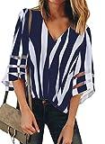 BLENCOT Women's Summer V Neck Mesh Panel 3/4 Bell Sleeve Tops Striped Loose Flowy Blouse Tops Dark Blue XL