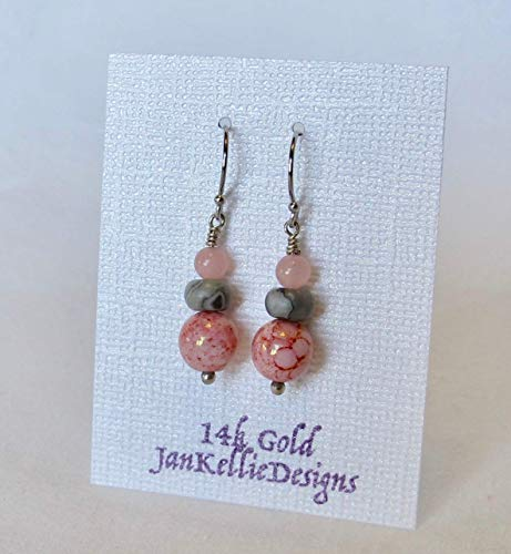 Czech Glass Pink, AAA Jasper Gray and Rose Quartz Solid 14k WhITE Gold Drop and Dangle Earrings