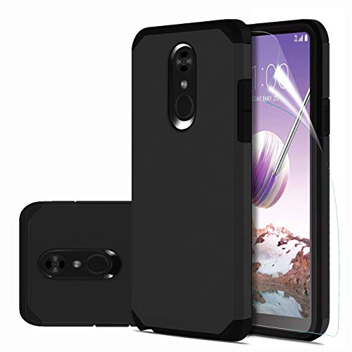 Stylus/LG Q Stylus Plus/LG Stylus 4/LG Stylus 4 Plus Case with HD Screen Protector,Slinco Dual Layer Hybrid Shock Proof Protective Rugged Phone Case for LG Stylo 4 2018(Black) ()