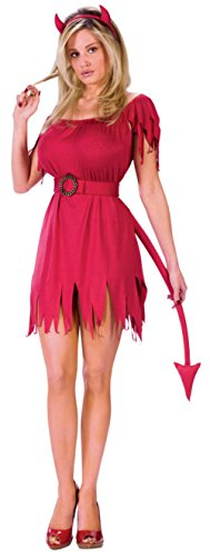 Devilish Hottie Costumes (Funworld Womens Devilish Hottie Red Dress Evil Villain Halloween Party Costume, Small/Medium)