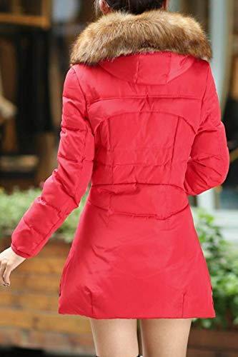 Espesar Rojo Acolchado Grande Manga Fashion Fit Abrigo Encapuchado Elegantes Chaqueta Acolchada Retro Mujer Parka Talla Invierno Larga Slim Largos Caliente nxPnwHYq
