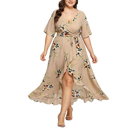 Goddessvan Women Plus Size Dress Casual Short Sleeve V-Neck Bohe Floral Bohemian Party Maxi Dress Beige ()