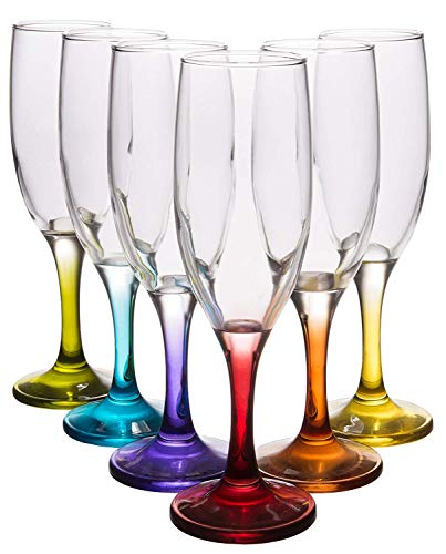 Coral Fame Classic Champagne Flutes, Elegant Crystal Clear Wine Glasses with Colored Stems, Set of 6, 7.25 fl oz