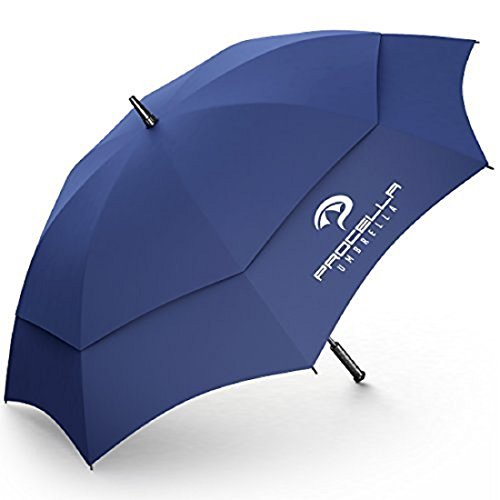 Procella Oversized Umbrella 62 Inch Large Golf Umbrellas Windproof Auto Open Rain & Wind Resistant Vented Double Canopy Sturdy Lightweight Portable Best Golf-Sized Stick Umbrellas For Men and Women (Portable Rain Canopy)