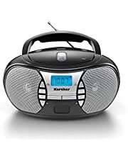 Karcher RR 5025-B tragbares CD Radio (CD-Player, UKW Radio, Batterie/Netzbetrieb, AUX-In) schwarz
