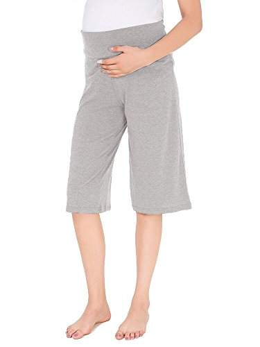 Ecavus Women's Maternity Wide/Straight Versatile Comfy Palazzo Lounge Pants Stretch Pregnancy Trousers (S, Short Grey)