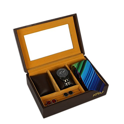 KRIO Designs BROWN Magnetic WATCH Box for Cufflink Ties