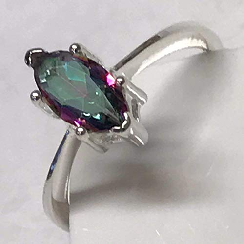 Gorgeous 1ct Mystic Topaz 925 Solid Sterling Silver Solitaire Marquise Ring sz 6.75 - Ring Topaz Marquise