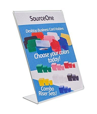 Source One Deluxe 11 Wide x 17 Tall Slant Back Clear Thick Acrylic Sign Holder - Brochure Holder (5 Pack) by SOURCEONE.ORG