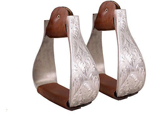 Tahoe Tack Silver Aluminum Engraved Stirrups for Western Horse Show ()