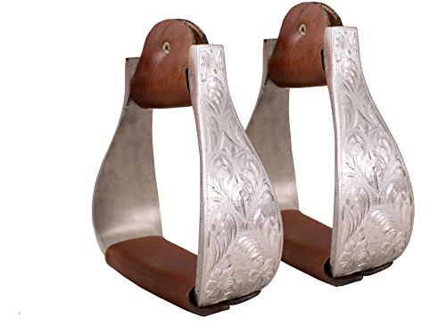 Silver Show Saddles - Tahoe Tack Silver Aluminum Engraved Stirrups for Western Horse Show Saddles