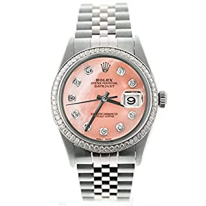 Best Epic Trends 41lCNbJ8F-L._SS300_ Rolex Mens Datejust 16014 36mm Stainless Steel Watch Custom Added Pink Mother of Pearl Diamond Dial & Custom 1CT Diamond…