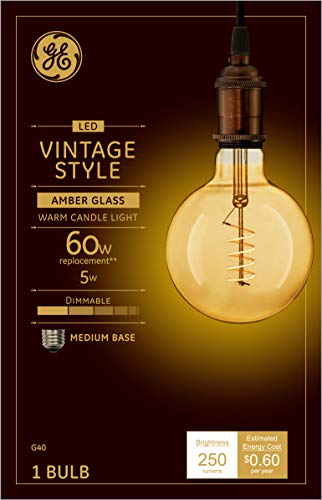 GE Lighting 36538 Amber Glass Dimmable LED Vintage Style G40 5 (60-Watt Replacement), 250-Lumen Medium Base
