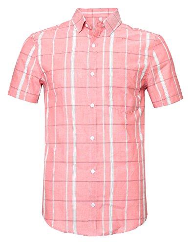 Premium Twill Shirt - SOOPO Men's Slim-Fit Short Sleeve Plaid Twill Shirt Pink M