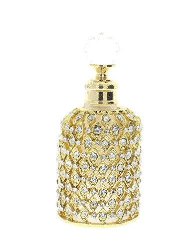 Ciel Jeweled Vintage Inspired Gold Tone Refillable Crystal Perfume Bottle Atomizer