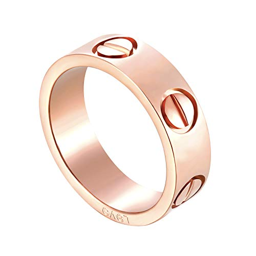 Mintrayor Lifetime Love Rings for Women Men Couples Valentine's Day Promise Engagement Wedding Titanium Stainless Steel Band Size 5-10