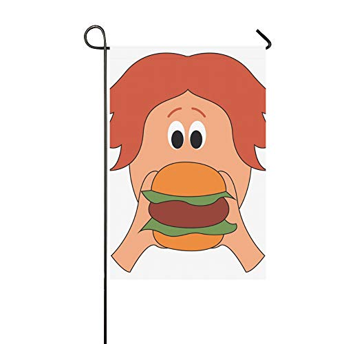 WIEDLKL Home Decorative Outdoor Double Sided Guy Long Hair Eating Big Burger Garden Flag House Yard Flag Garden Yard Decorations Seasonal Welcome Outdoor Flag 12x18in Spring Summer Gift from WIEDLKL