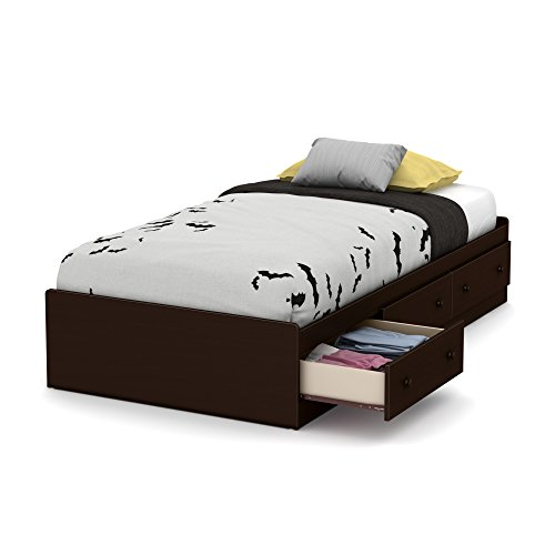 South Shore Little Smileys Twin Mates Bed (39'') with 3 Drawers, Espresso (Bed 5 Drawers)