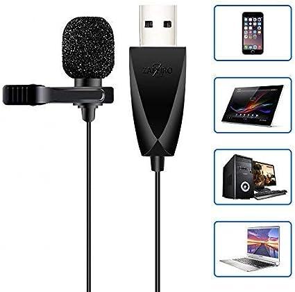 USB For PC Desktop Skype Voice Recording Tie Clip Mic Lapel Microphone 3.5mm