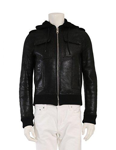 (ディオールオム) Dior HOMME フードブルゾン ジャケット ムートンレザー 黒 7H3540410030 中古 B07FTGBSN3