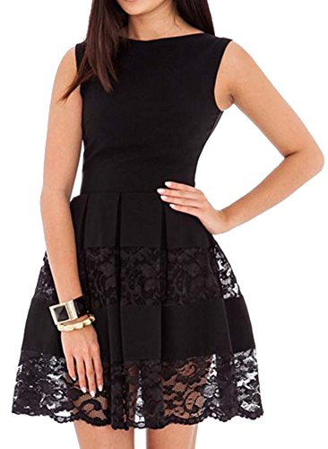[made2envy Lace Accents Sleeveless Skater Dress (XL, Black) R80049XLB] (Womens Black Sequin Short Dress)