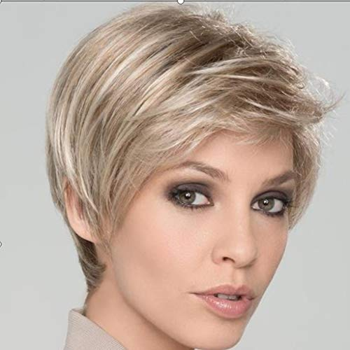 Tigivemen Charm Women Girl Short Blonde Wig,Small Wavy Fashion Wigs Hot,No Lace Front Wig Curly Full -