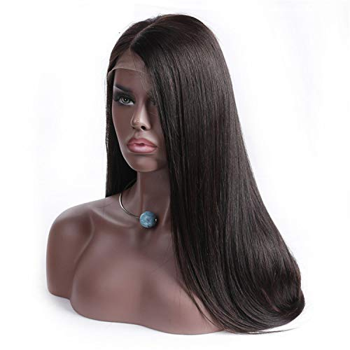134 Lace Front Human Hair Wigs For Black Woman Middle Part 130% Density Lace Frontal Wigs Straight Remy Hair HCDIVA,Natural Color,22inches,130% from Jade clear