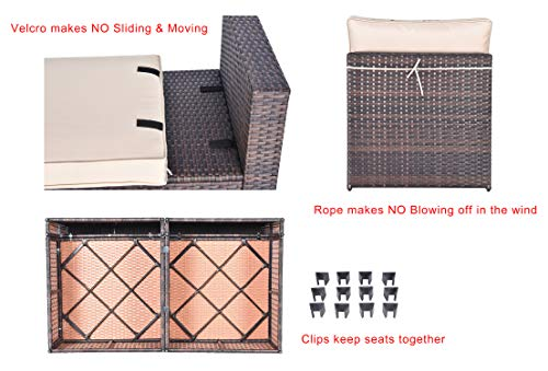 Gotland Outdoor Patio Furniture Set 7 Pieces Sectional Rattan Sofa Set Manual Wicker Patio Conversation Set with A Tempered Class Table and 6 Seat Cushions -  - patio-furniture, patio, conversation-sets - 41lCP3GHw4L -