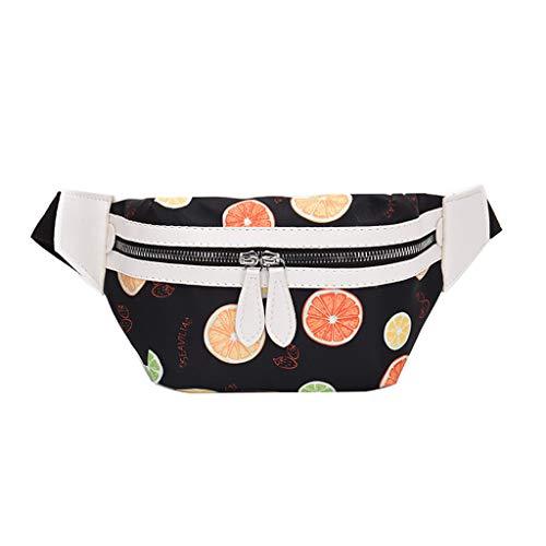 Women Fashion Shoulder Chest Bag,Crytech Trendy Multicolor Flower Print Zipper Water Resistant Fanny Waist Pack Lightweight Small Casual Sport Wild Crossbody Messenger Sling Bag for Girls (Black)