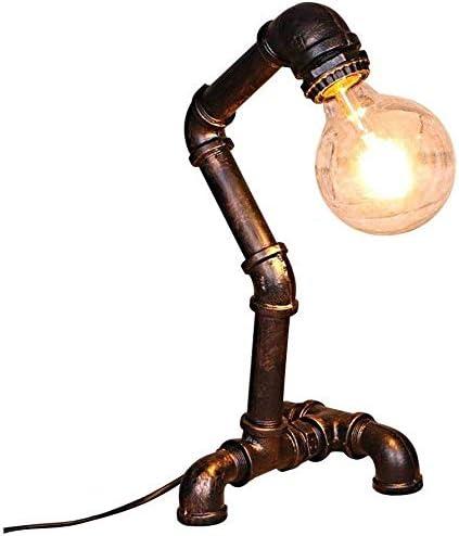 Zenghh Robot retro Steampunk lámpara de mesa, American Industrial tubería de hierro lámpara de cabecera del estilo humanoide decoración sencilla Arte E27 con la línea de lectura de luz Oficina de Estu: