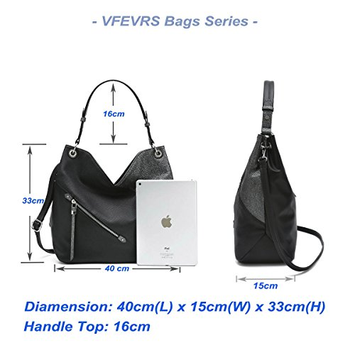 Handbags Quality VFEVRS with Ladies Tote Ladies High Leather for Tassel Women Bag for Style Crossbody PU Bag Hobo Black Shoulder qrgxqAawn
